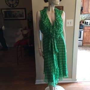 Lauren Ralph Lauren Green Polka Dots Wrap Dress